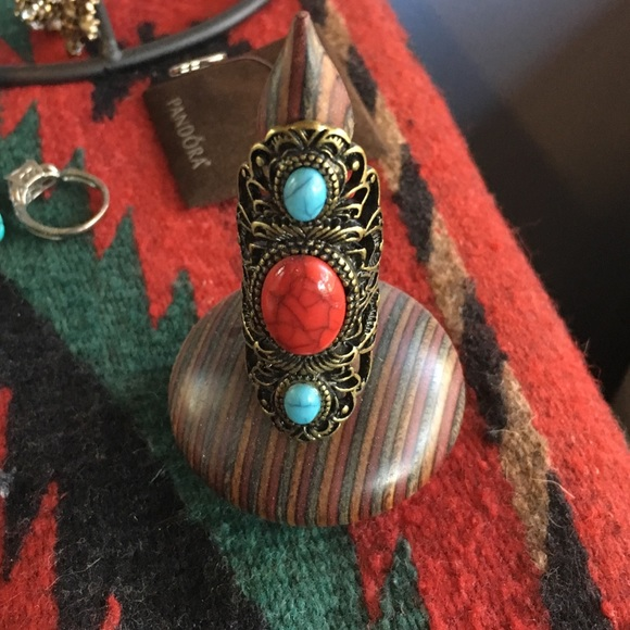Jewelry - Vintage gold turquoise and red stone ring size 8